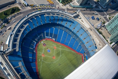 Toronto, Canada - August 8, 2014: Aerial view of the Rogers Center a few hours before of a Blue Jays match