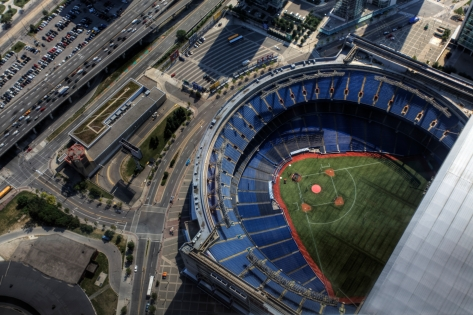 Toronto, Canada - July 27, 2010: An aerial view of the Rogers Center in Toronto, Canada. The stadium houses the Toronto Blue Jays and was opened in 1989.