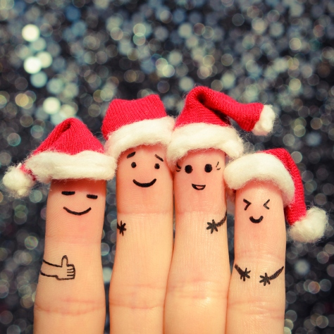 Finger art of friends celebrates Christmas.